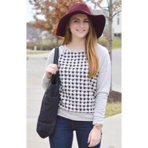 Tops - Houndstooth Terry Grey Top